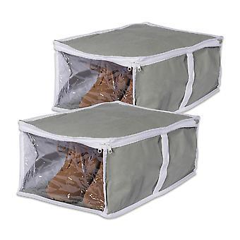 Dii gris debajo de la cama zapatos de almacenamiento suave (conjunto de 2)