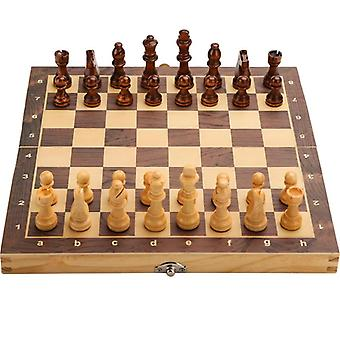 Large Magnetic Wooden Folding Chess Set-with Interior Storage