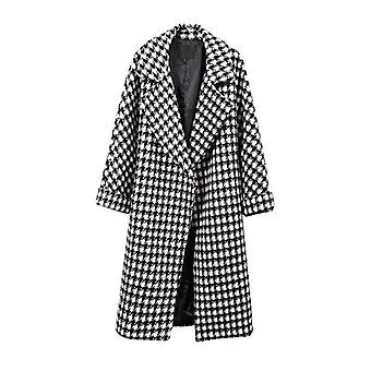 Winter Thick Warm Plaid Casual Long Turn-down Collar Loose Soft Coat