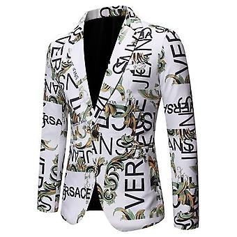 Mens Blazers الخريف طباعة بدلة ضئيلة شق