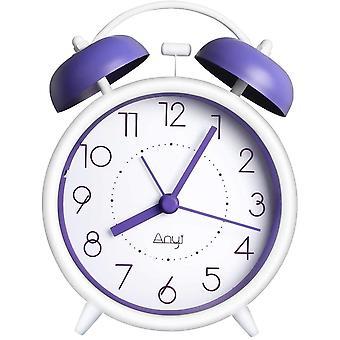 PROKING Twin Bell Alarm Clock Battery Powered Non Ticking Bedside Alarm Clocks