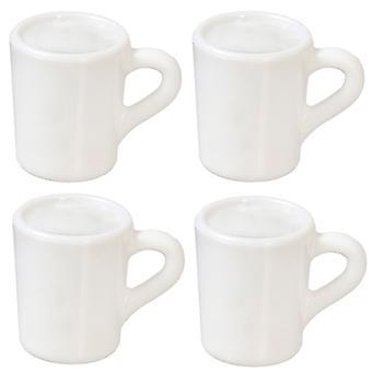 Dolls House 4 Plain White Mugs Empty Miniature Kitchen Accessory