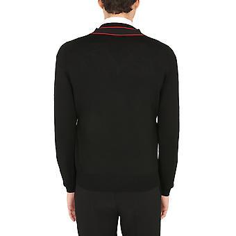Alexander Mcqueen 651189q1xbb1099 Men's Black Wool Sweater
