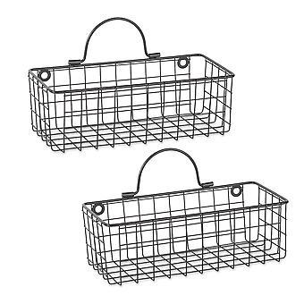 Dii alambre cesta de pared (conjunto de 2) negro pequeño