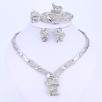 Alloy Rhinestone Wedding Jewelry Sets, Necklace Bracelet Ring, Earrings Bridal