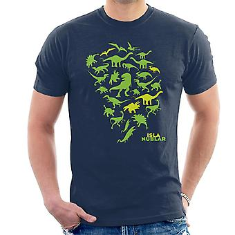 Jurassic Park Isla Nublar Grön Dinosaur Silhouettes Män's T-Shirt