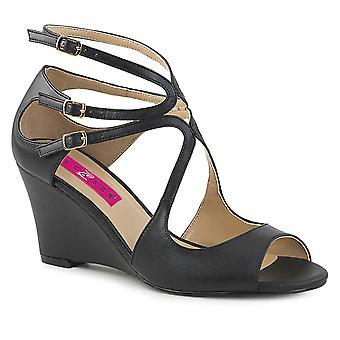Pleaser mujeres'zapatos rosa Blk cuero sintético