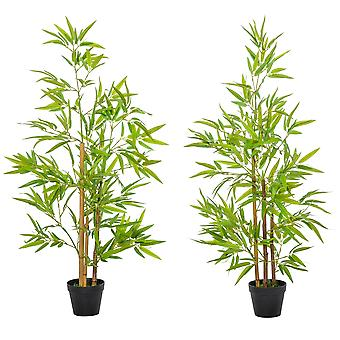 Outsunny Set of 2 120cm/4FT Artificial Bamboo Trees Decorative Plant w/ Heavy Pot Indoor Outdoor Style Home Office Greenery Decoration