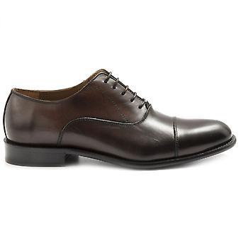 Zapato de encaje para hombre Sangiorgio cuero marrón oscuro