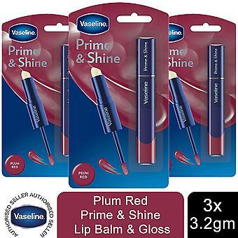 Vaseline Prime & Shine 2-in-1 Lip Balm & Gloss 3.2g, 6pk, Plum Red
