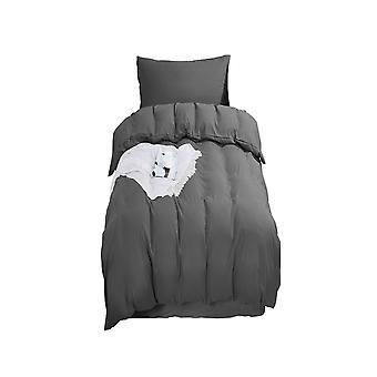 Tavallinen harmaa pussilakanasarja Yksikokoinen vetoketjulla 135 x 200cm 1 tyynynpäällinen Erittäin pehmeä hypoallergeeninen mikrokuitupeittosarja