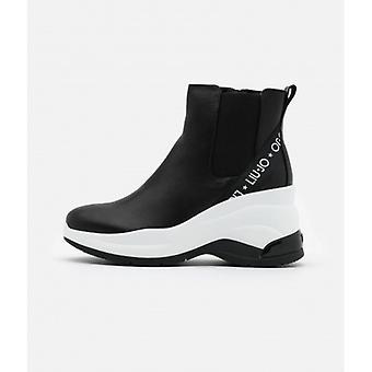 Women's Shoes Sneaker Mid Liu-jo Karlie Revolution In Black Leather D21lj08