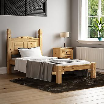 Corona Single Bed Low Foot End 3ft Mexican Solid Waxed Pine