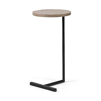 Brown Wood Round Top Accent Table with Black Iron Base