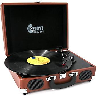 Record player, vinyl music on vinyl turntable with 2 built-in speakers, 3-speed portable vinyl lp pl wof17705