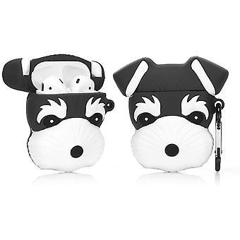 Silikonové pouzdro kompatibilní s Airpods 1&2 [Cute Animal Pet Series] (Černý knírač pes)