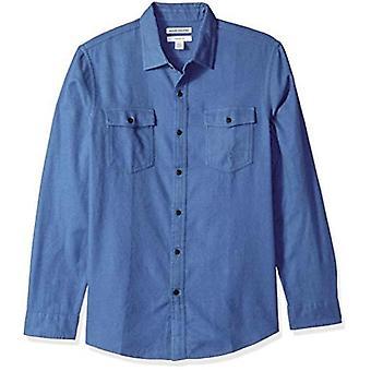 Essentials Men's Slim-Fit Long-Sleeve Solid Flannel Shirt