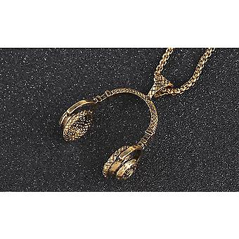 Necklace with headphones in gold fashion accessories