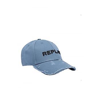 Replay Jeans Replay Mens Distressed Baseball Cap Light Blue