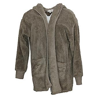 Koolaburra By UGG Women's Sweater Shaggy Cardigan Rib Detail Gray A386142