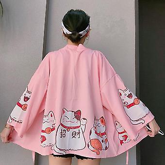 Mujeres Harajuku japonesa verano carpa impresión camisa suelta