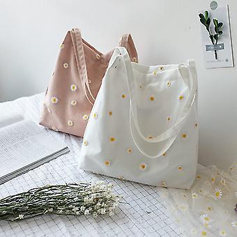 Canvas Shoulder Mini Shopper Bags for Women Female Girls Purses and Handbag Environmental Reusable Foldable Cute Small Tote