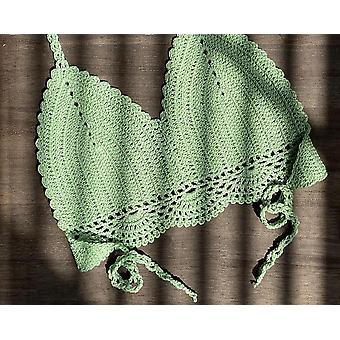 Nők Boho Beach Bralette szilárd kötőfék kötött fürdőruha, bikini fürdőruhában