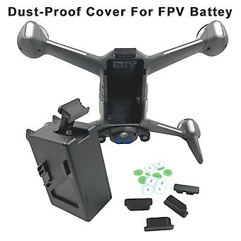 Drone body battery port protection cover dust-proof cap for dji fpv combo drone accessories with battery serial number sticker