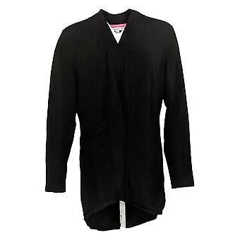 Isaac Mizrahi En direct! Women's Sweater Hi-Low Hem Black A392229