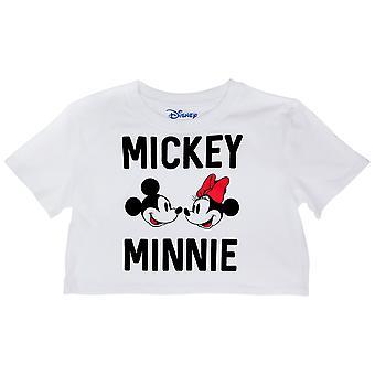 Disney Mickey och Mimmi Mus ansikten och Text Crop Top Tee