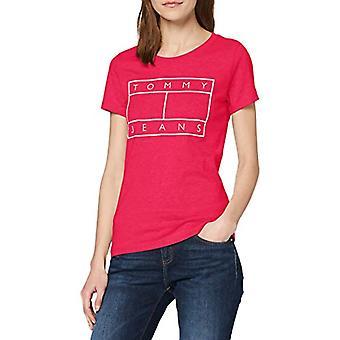 Tommy Jeans Tjw camiseta camiseta de bandera metálica, rojo (rojo rubor Xif), 36 (un tamaño: XX-pequeño) Mujer