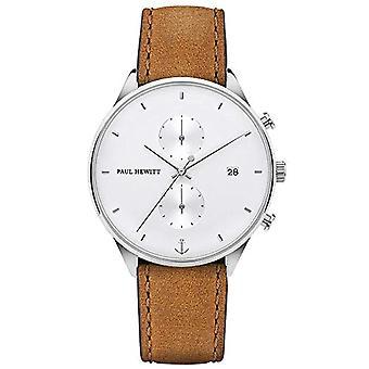 PAUL HEWITT Cronógrafo de arena blanca de la línea crono de chrono de chrono de los hombres, cronógrafo de acero de los hombres (plata), reloj de pulsera de los hombres con el cronómetro de la referencia. 4251158741147