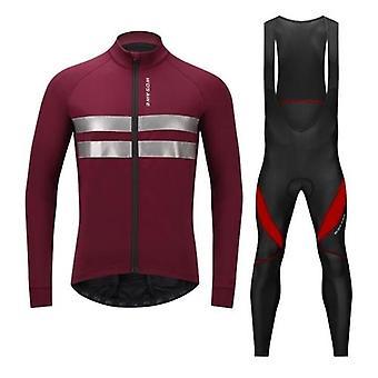 男性サイクリングジャージーセット自転車衣類長袖サーマルフリース冬のバイクジャケットと3Dパッド入りのビブパンツタイツ