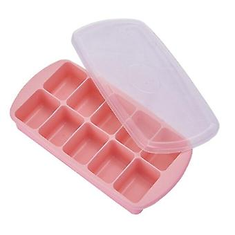 1PC 10 Grid Food Grade Silicone Ice Tray Home With Lid Ice Cube Mold Square Shape Ice Cream(Red)