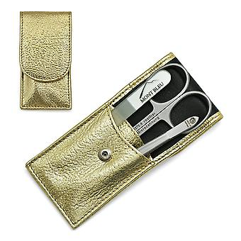Hans Kniebes' Sonnenschein 3-piece Manicure Set in Nappa Leather Case, Made in Germany - Gold