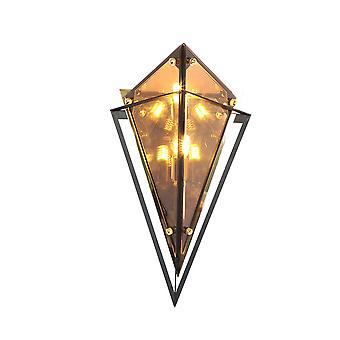 Diamond wall lamp, 220V aisle bedroom living room bedside lamp villa brown glass lamp, brown LED