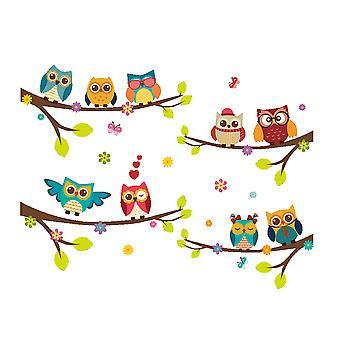 Regenboghorn Uil zingen op boom muur sticker ZY242