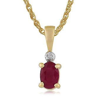 klassisk oval rubin & diamant anheng halskjede i 9ct gult gull 27059