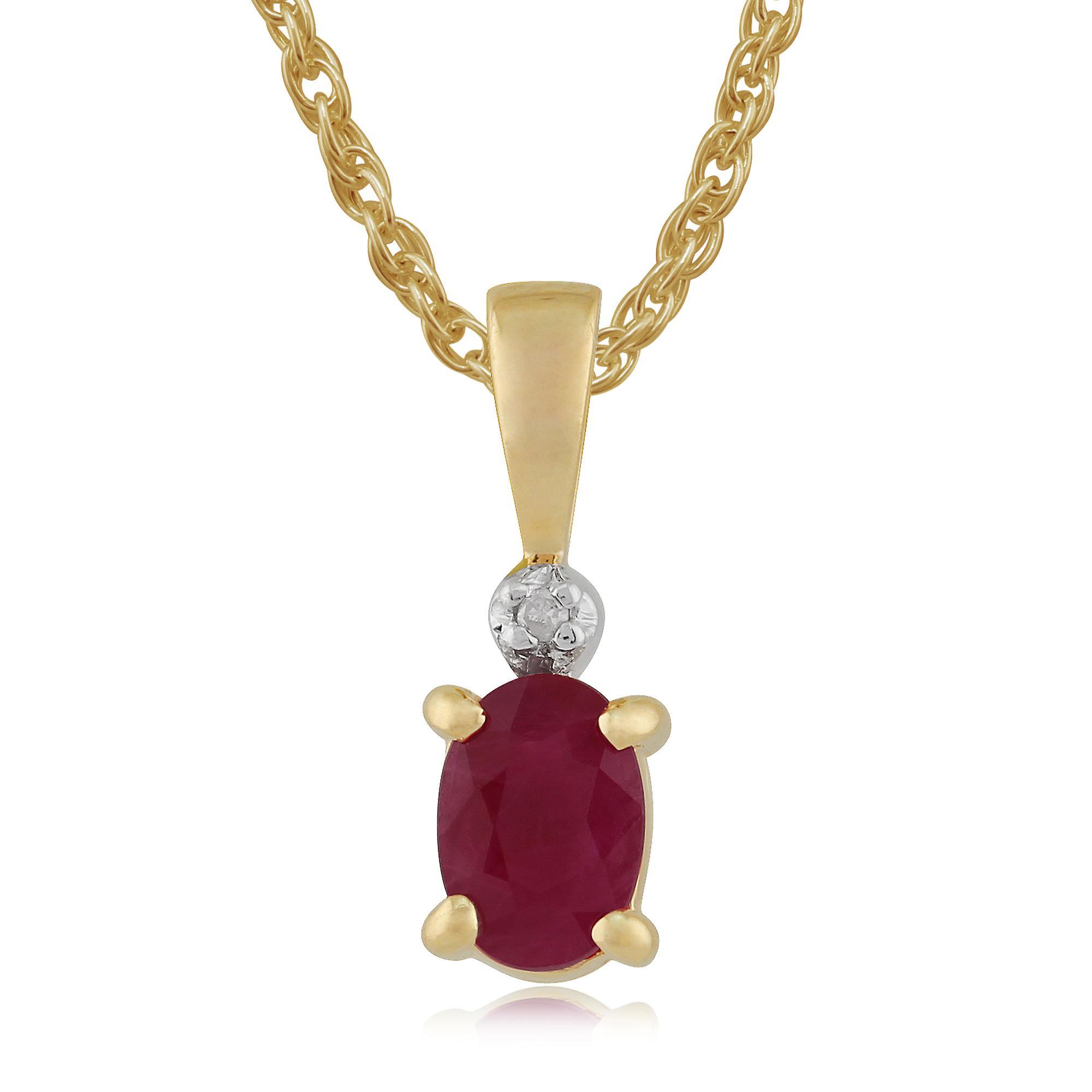 9ct Yellow Gold 0.59ct Ruby & Diamond Pendant On Chain