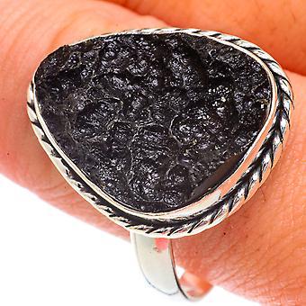 Tektite Ring Size 12.75 (925 Sterling Silver)  - Handmade Boho Vintage Jewelry RING66203