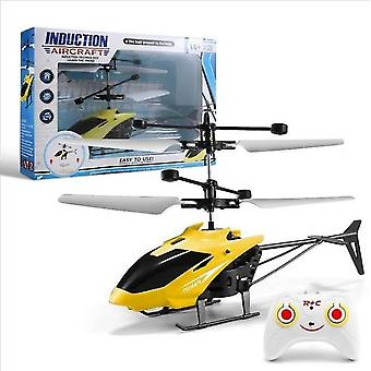 Yellow mini rc helicopter infrared induction remote control indoor outdoor kids toy dt5487