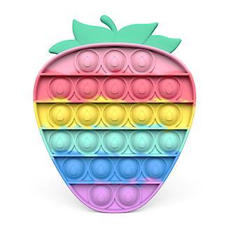 Stuff Certified® Pop It - Fidget Anti Stress Toy Bubble Toy Silicone Strawberry Rainbow