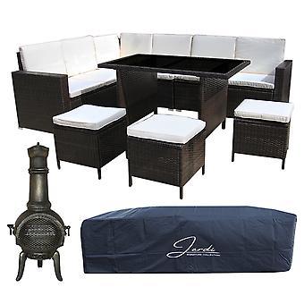 Rattan Garden Furniture Corner Sofá Comedor Set &Cast Iron Chiminea