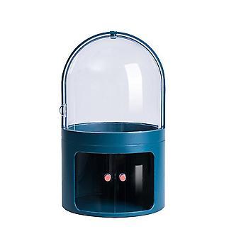 תיבת אחסון קוסמטית דו שכבתית בעלת קיבולת גדולה עם שולחן איפור שקוף עמיד בפני אבק