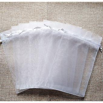 100pcs White Organza Jewelry Packaging Bag