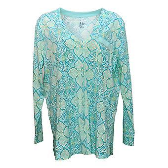 Aria Women's Printed Jersey Knit Robe Green 637165