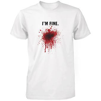Jeg er fint blodige mænds hvid Tee Funny Halloween T-Shirt Graphic Tee sjove bomuldstrøje