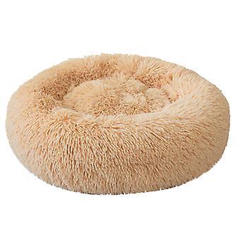 Pes a kočka koš mat round plyšové zimní lůžko velké domácí štěně a kotě rohož, vnější průměr 60cm, výška cca 20cm, hmotnost 0.75kg (včetně vlasů L