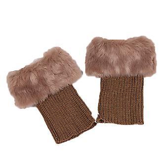 Naisten talvi virkattu jalka lämmin boot sukat kalvosinnappi topper trim nilkka