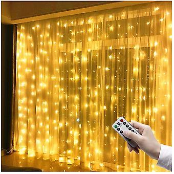 3m X 3m Led Light Curtain, 300 Leds, Usb, Waterproof, 8 Modes, Warm White Light